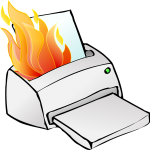 cartoon printer on fire