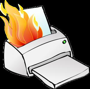 cartoon printer on fire