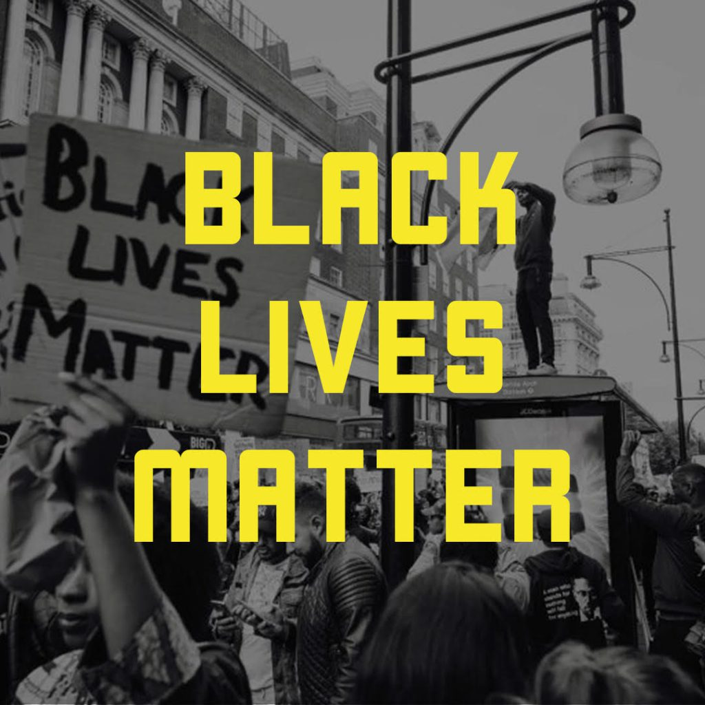 a city protest with the statement Black Lives Matter overlaying the image.