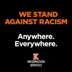 "text stating: ""We stand against racism anywhere, everywhere."